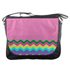 Easter Chevron Pattern Stripes Messenger Bags by Amaryn4rt