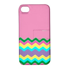 Easter Chevron Pattern Stripes Apple Iphone 4/4s Hardshell Case With Stand by Amaryn4rt