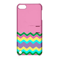 Easter Chevron Pattern Stripes Apple Ipod Touch 5 Hardshell Case With Stand by Amaryn4rt