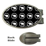 Elephant Wallpaper Pattern Money Clips (Oval)  Front