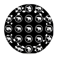 Elephant Wallpaper Pattern Ornament (round Filigree) by Amaryn4rt