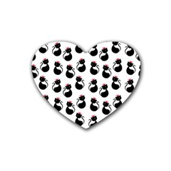 Cat Seamless Animal Pattern Rubber Coaster (heart)  by Amaryn4rt