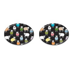 Sheep Cartoon Colorful Cufflinks (oval) by Amaryn4rt
