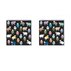Sheep Cartoon Colorful Cufflinks (square) by Amaryn4rt