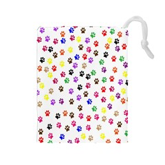 Paw Prints Background Drawstring Pouches (large)