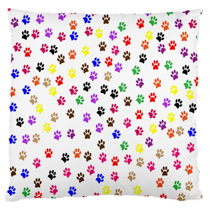 Paw Prints Background Large Flano Cushion Case (Two Sides)