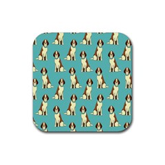 Dog Animal Pattern Rubber Square Coaster (4 Pack)  by Amaryn4rt