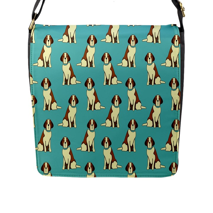 Dog Animal Pattern Flap Messenger Bag (L)
