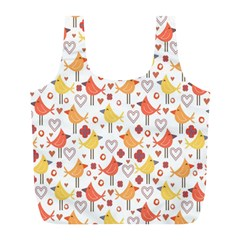 Animal Pattern Happy Birds Seamless Pattern Full Print Recycle Bags (l)  by Amaryn4rt