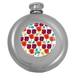 Tree Pattern Background Round Hip Flask (5 Oz) by Amaryn4rt