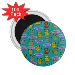 Meow Cat Pattern 2 25  Magnets (100 Pack)