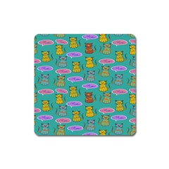Meow Cat Pattern Square Magnet