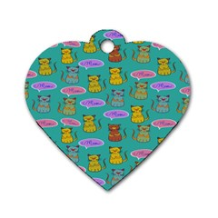Meow Cat Pattern Dog Tag Heart (two Sides) by Amaryn4rt