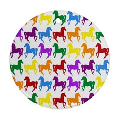 Colorful Horse Background Wallpaper Ornament (round) by Amaryn4rt