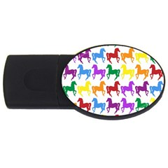 Colorful Horse Background Wallpaper Usb Flash Drive Oval (2 Gb)