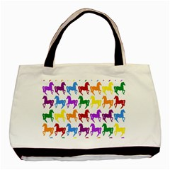 Colorful Horse Background Wallpaper Basic Tote Bag (two Sides) by Amaryn4rt