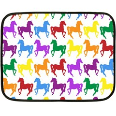 Colorful Horse Background Wallpaper Double Sided Fleece Blanket (mini)