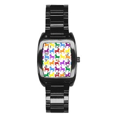 Colorful Horse Background Wallpaper Stainless Steel Barrel Watch by Amaryn4rt