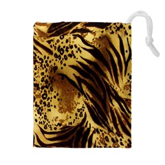 Stripes Tiger Pattern Safari Animal Print Drawstring Pouches (extra Large)