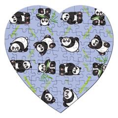 Panda Tile Cute Pattern Blue Jigsaw Puzzle (heart) by Amaryn4rt