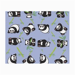 Panda Tile Cute Pattern Blue Small Glasses Cloth by Amaryn4rt