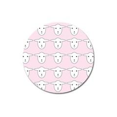 Sheep Wallpaper Pattern Pink Magnet 3  (round) by Amaryn4rt