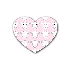 Sheep Wallpaper Pattern Pink Rubber Coaster (heart)  by Amaryn4rt