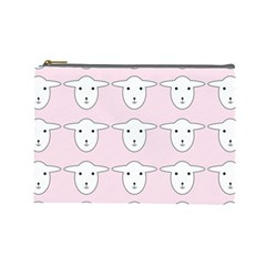 Sheep Wallpaper Pattern Pink Cosmetic Bag (large)  by Amaryn4rt