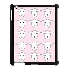 Sheep Wallpaper Pattern Pink Apple Ipad 3/4 Case (black) by Amaryn4rt