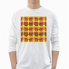 Funny Faces White Long Sleeve T Shirts by Amaryn4rt