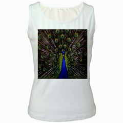 Bird Peacock Display Full Elegant Plumage Women s White Tank Top by Amaryn4rt