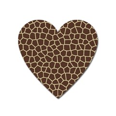 Leather Giraffe Skin Animals Brown Heart Magnet by Alisyart