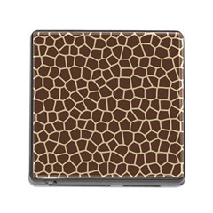 Leather Giraffe Skin Animals Brown Memory Card Reader (square) by Alisyart