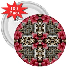 Flowers Fabric 3  Buttons (100 Pack)  by Amaryn4rt