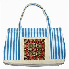 Flowers Fabric Striped Blue Tote Bag by Amaryn4rt