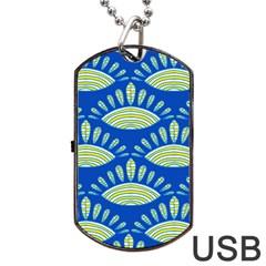 Sea Shells Blue Yellow Dog Tag Usb Flash (one Side) by Alisyart