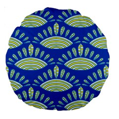 Sea Shells Blue Yellow Large 18  Premium Round Cushions by Alisyart