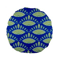 Sea Shells Blue Yellow Standard 15  Premium Flano Round Cushions by Alisyart