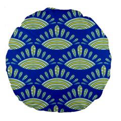 Sea Shells Blue Yellow Large 18  Premium Flano Round Cushions by Alisyart