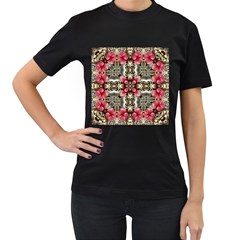 Flowers Fabric Women s T Shirt (black) (two Sided)