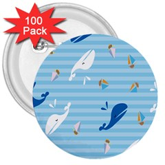 Whaling Ship Blue Sea Beach Animals 3  Buttons (100 Pack)  by Alisyart