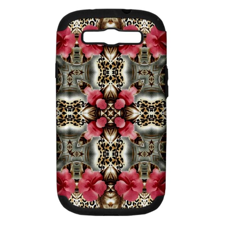 Flowers Fabric Samsung Galaxy S III Hardshell Case (PC+Silicone)