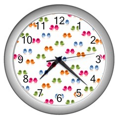 Pattern Birds Cute Design Nature Wall Clocks (silver)  by Amaryn4rt