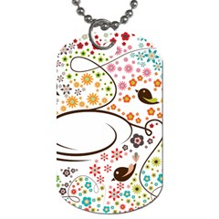 Flower Floral Rose Sunflower Bird Back Color Orange Purple Yellow Red Dog Tag (one Side)