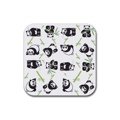 Panda Tile Cute Pattern Rubber Square Coaster (4 Pack)  by Amaryn4rt