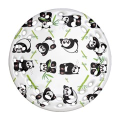 Panda Tile Cute Pattern Round Filigree Ornament (two Sides) by Amaryn4rt