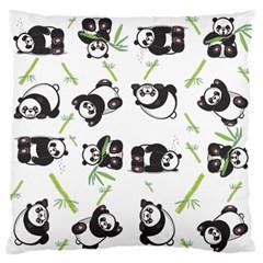 Panda Tile Cute Pattern Large Flano Cushion Case (one Side) by Amaryn4rt