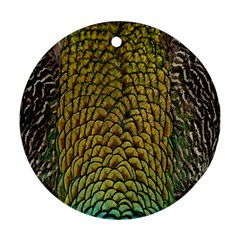 Colorful Iridescent Feather Bird Color Peacock Round Ornament (two Sides) by Amaryn4rt
