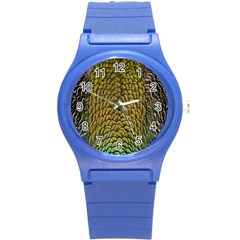 Colorful Iridescent Feather Bird Color Peacock Round Plastic Sport Watch (s) by Amaryn4rt