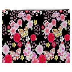 Flower Arrangements Season Rose Butterfly Floral Pink Red Yellow Cosmetic Bag (xxxl)  by Alisyart